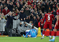 27th November 2019; Anfield, Liverpool, Merseyside, England; UEFA Champions League Football, Liverpool versus SSC Napoli ; SSC Napoli manager Carlo Ancelotti reacts furiously after Dries Mertens of SSC Napoli is fouled by Georginio Wijnaldum of Liverpool  - Editorial Use