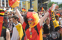Germany, DEU, Dortmund, 2006-Jun-24: FIFA football world cup (USA: soccer world cup) 2006 in Germany; German football fan in good mood at a public viewing zone before the world cup match Germany vs. Sweden (2:0).