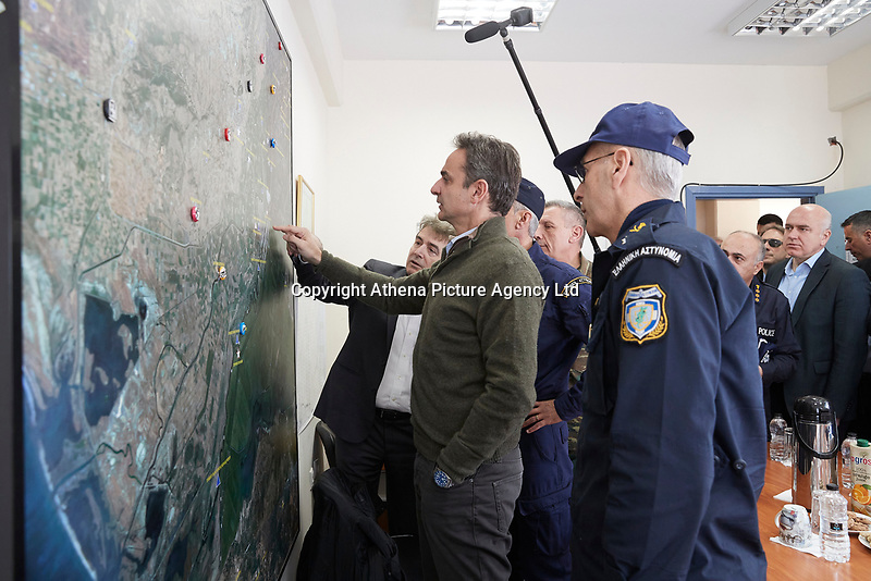 Pictured: Kyriakos Mitsotakis meets with fire service personnel in the Evros area, Greece. Tuesday 03 March 2020<br /> Re: Greek Prime Minister Kyriakos Mitsotakis has met with members of the emergency services and army personnel at the Evros area, Greece