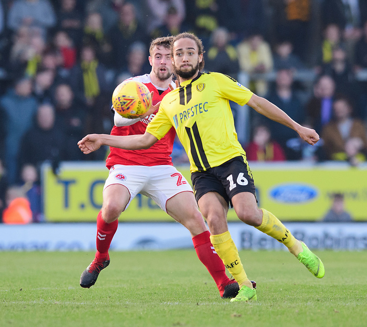 Fleetwood Town's Jack Sowerby vies for possession with Burton Albion's Marcus Harness<br /> <br /> Photographer Chris Vaughan/CameraSport<br /> <br /> The EFL Sky Bet League One - Saturday 23rd February 2019 - Burton Albion v Fleetwood Town - Pirelli Stadium - Burton upon Trent<br /> <br /> World Copyright © 2019 CameraSport. All rights reserved. 43 Linden Ave. Countesthorpe. Leicester. England. LE8 5PG - Tel: +44 (0) 116 277 4147 - admin@camerasport.com - www.camerasport.com