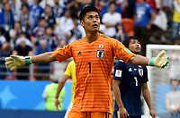 SARANSK - RUSIA, 19-06-2018: Eiji KAWASHIMA arquero de Japón reacciona después del gol de Colombia durante partido de la primera fase, Grupo H, entre Colombia y Japón por la Copa Mundial de la FIFA Rusia 2018 jugado en el estadio Mordovia Arena en Saransk, Rusia. / Eiji KAWASHIMA, goalkeeper of Japan,reacts after the goal of Colombia during the match between Colombia and Japan of the first phase, Group H, for the FIFA World Cup Russia 2018 played at Mordovia Arena stadium in Saransk, Russia. Photo: VizzorImage / Julian Medina / Cont