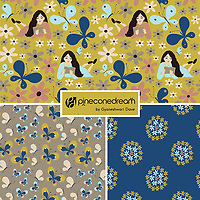 &quot;The Happy Place&quot; is a hand illustrated scalable vector surface pattern collection - with the theme of creative, thinking beautiful souls of women and their love for nature.<br />