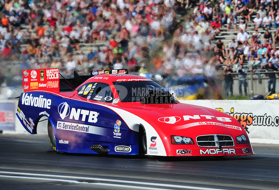 May 19, 2012; Topeka, KS, USA: NHRA funny car driver Johnny Gray during qualifying for the Summer Nationals at Heartland Park Topeka. Mandatory Credit: Mark J. Rebilas-