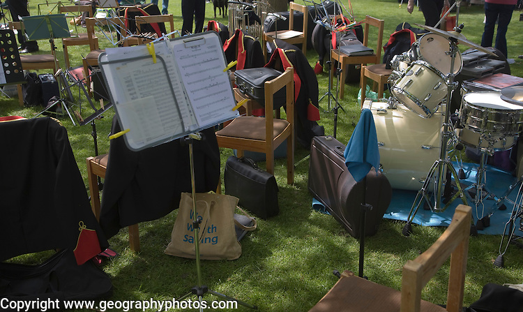 Musicians in a brass band perform during a country fair at Helmingham Hall, Suffolk, England