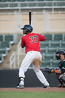 Micker Adolfo (37) of the Kannapolis Intimidators at bat against the Greensboro Grasshoppers at Intimidators Stadium on July 17, 2016 in Greensboro, North Carolina.  The Grasshoppers defeated the Intimidators 5-4 in game two of a double-header.  (Brian Westerholt/Four Seam Images)