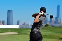 Adam Hadwin (CAN) warms up before round 4 Singles of the 2017 President's Cup, Liberty National Golf Club, Jersey City, New Jersey, USA. 10/1/2017. <br /> Picture: Golffile | Ken Murray<br /> <br /> All photo usage must carry mandatory copyright credit (&copy; Golffile | Ken Murray)