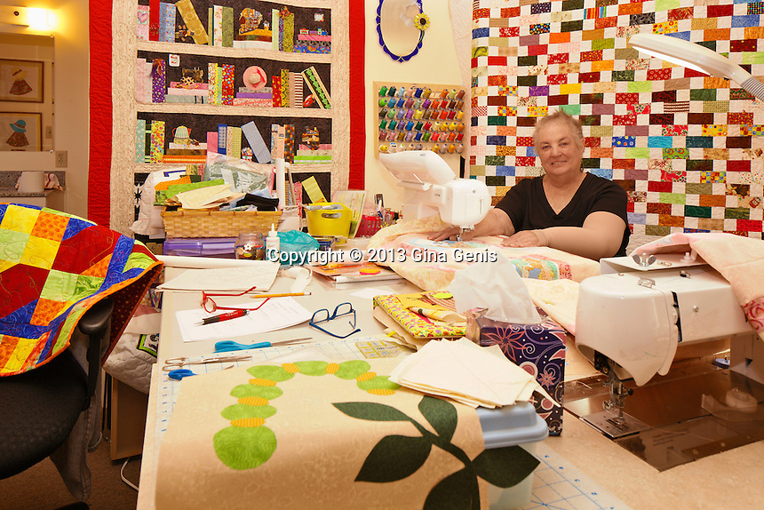 Deanna Collins in her quilting room.