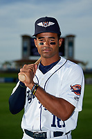Lakeland Flying Tigers Derek Hill (18) poses for a photo before a game against the Tampa Tarpons on April 5, 2018 at Publix Field at Joker Marchant Stadium in Lakeland, Florida.  Tampa defeated Lakeland 4-2.  (Mike Janes/Four Seam Images)