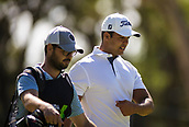 9th February 2018, Lake Karrinyup Country Club, Karrinyup, Australia; ISPS HANDA World Super 6 Perth golf, second round; Dimitrios Papadatos (AUS NSW) talks with his caddy