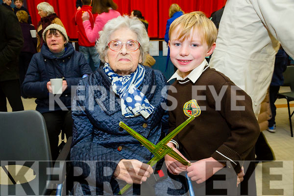 Mary O'Connor with Grandson Sean O Conchubhar Gaeilscoil Mich Easmann Grandparents Day and Blessings of St. Bridgets Crosses on Monday