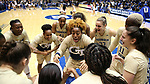 DURHAM, NC - FEBRUARY 01: Georgia Tech's Kaylan Pugh (center) rallies her team before the game. The Duke University Blue Devils hosted the Georgia Tech University Yellow Jackets on February 1, 2018 at Cameron Indoor Stadium in Durham, NC in a Division I women's college basketball game. Duke won the game 77-59.