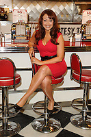 "Amy Anzel at the photocall for ""Happy Days The Musical"" at Ed's Easy Diner, Trocadero, London. 08/01/2014 Picture by: Steve Vas / Featureflash"