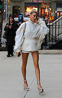 www.acepixs.com<br /> <br /> February 15 2017, New York City<br /> <br /> Model Hailey Baldwin wears short shorts as she arrives at Gigi Hadid's apartment on February 15 2017 in New York City<br /> <br /> By Line: Zelig Shaul/ACE Pictures<br /> <br /> <br /> ACE Pictures Inc<br /> Tel: 6467670430<br /> Email: info@acepixs.com<br /> www.acepixs.com