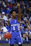 Kentucky Wildcats guard De'Aaron Fox directs the team against the North Carolina Tar Heels during the 2017 NCAA Men's Basketball Tournament South Regional Elite 8 at FedExForum in Memphis, TN on Friday March 24, 2017. Photo by Michael Reaves | Staff