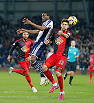 West Brom goalscorer Brown Ideye competes with Federico Fernandez of Swansea - Premier League Football - West Bromwich Albion vs Swansea City - The Hawthorns West Bromwich - Season 2014/15 - 11th February 2015 - Photo Malcolm Couzens/Sportimage