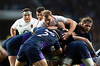 Joe Launchbury of England in action at a maul. Guinness Six Nations match between England and Scotland on March 16, 2019 at Twickenham Stadium in London, England. Photo by: Patrick Khachfe / Onside Images