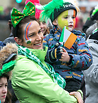 170318<br /> Mairead and Daragh Cronin (4) during St Patricks Day parade in Ennis.Pic Arthur Ellis.