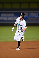 Salt River Rafters Seth Beer (8), of the Arizona Diamondbacks organization, rounds the bases after hitting a home run during an Arizona Fall League game against the Mesa Solar Sox on September 27, 2019 at Salt River Fields at Talking Stick in Scottsdale, Arizona. Salt River defeated Mesa 6-1. (Zachary Lucy/Four Seam Images)