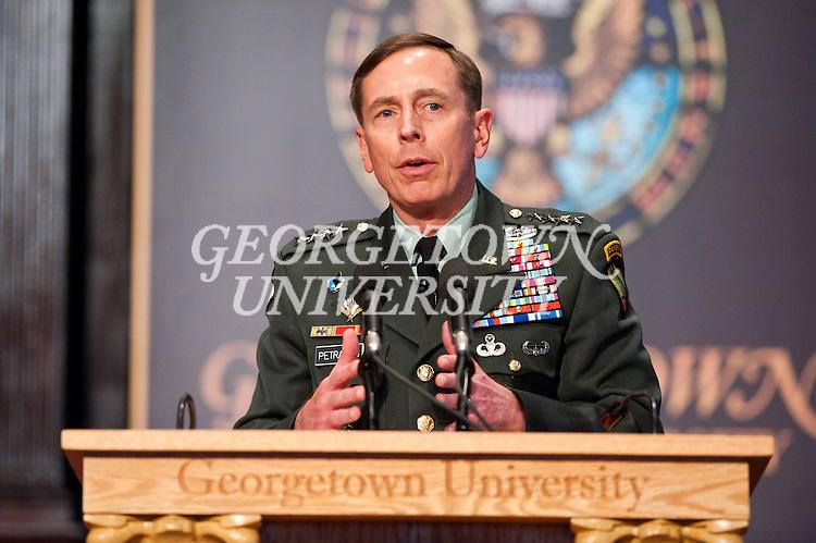 General David Petraeus, Commander, U.S. Central Command, delivers remarks in Gaston Hall.