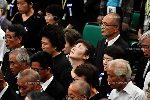 August 15, 2016, Tokyo, Japan - About 5600 bereaved families participate in a government-sponsored memorial ceremony at the Nippon Budokan hall in Tokyo on Monday, August 15, 2016, as Japan observes the 71st anniversary of the end of World War II. (Photo by Natsuki Sakai/AFLO) AYF -mis-