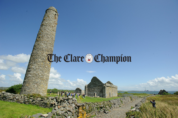 A general view of a church and round tower ruin on Scattery Island. Photograph by John Kelly.