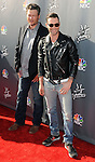 """Blake Shelton and Adam Levine arriving at NBC's """"The Voice"""" Red Carpet Event at Sayers Club in Los Angeles, CA. April 3, 2014."""
