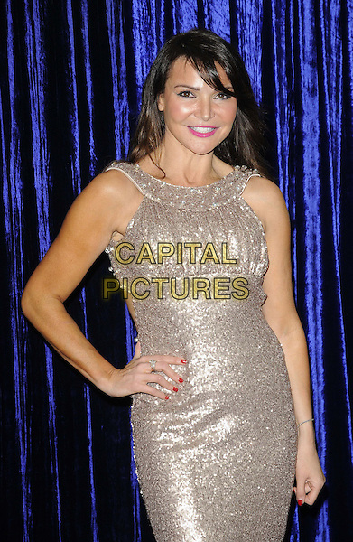 Lizzie Cundy.attended the Retail Trust London Ball, Grosvenor House Hotel, Park Lane, London, England..January 28th, 2013.half length silver sparkly sleeveless dress hand on hip.CAP/CAN.©Can Nguyen/Capital Pictures.