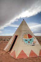 A teepee at the Meteor City Trading Post was built in 1938 and boasts the Worlds Longest Map of Route 66 at over a 100 feet long.  The map was originally painted by Bob Waldmire and restored in 2003. The Dome shaped building was built 1979 and burned in 1990, and rebuilt.