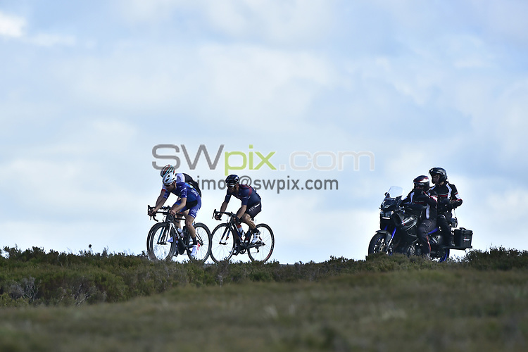 Picture by Allan McKenzie/SWpix.com - 02/07/17 - Cycling - HSBC UK British Cycling Mens Grand Prix Series - Tour of the Reservoir - Edmundbyers, England - Bike Channel Canyon's Jack Pullar leads with Madison Genesis's Connor Swift and JLT Condor's Graham Briggs.