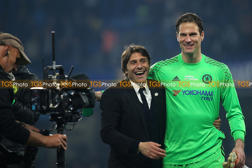 Chelsea Manager, Antonio Conte celebrates with goalkeeper, Asmir Begovic at the final whistle during Chelsea vs Watford, Premier League Football at Stamford Bridge on 15th May 2017