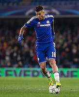 Kenedy of Chelsea on the ball during the UEFA Champions League Round of 16 2nd leg match between Chelsea and PSG at Stamford Bridge, London, England on 9 March 2016. Photo by Andy Rowland.