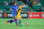 26th March 2018, nib Stadium, Perth, Australia; Womens International football friendly, Australia Women versus Thailand Women; Katrina-Lee Gorry of the Matildas gets ahead of Kanjana Sung-Ngoen of Thailand
