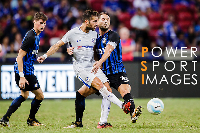Chelsea Midfielder Cesc Fabregas (L) fights for the ball with FC Internazionale Defender Danilo D'Ambrosio (R) during the International Champions Cup 2017 match between FC Internazionale and Chelsea FC on July 29, 2017 in Singapore. Photo by Marcio Rodrigo Machado / Power Sport Images