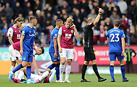 Everton's Seamus Coleman is is shown a a red card following his second yellow card by referee Graham Scott for his foul on Burnley's Dwight McNeil (grounded)<br /> <br /> Photographer Rich Linley/CameraSport<br /> <br /> The Premier League - Burnley v Everton - Saturday 5th October 2019 - Turf Moor - Burnley<br /> <br /> World Copyright © 2019 CameraSport. All rights reserved. 43 Linden Ave. Countesthorpe. Leicester. England. LE8 5PG - Tel: +44 (0) 116 277 4147 - admin@camerasport.com - www.camerasport.com