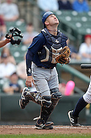 Durham Bulls catcher Craig Albernaz #4 during a game against the Empire State Yankees at Frontier Field on May 13, 2012 in Rochester, New York.  Durham defeated Empire State 3-1.  (Mike Janes/Four Seam Images)
