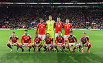 Wales Team Group Back Row (Left to Right)<br /> Ashley Williams - Wayne Hennessey - Sam Vokes - James Chester <br /> Front Row (Left to Right) Chris Gunter - Hal Robson Kanu - Neil Taylor - Joe Allen - Aaron Ramsey - Joe Ledley - Gareth Bale   <br /> before the start of the FIFA World Cup Qualifying match at the Cardiff City Stadium, Cardiff. Picture date: November 12th, 2016. Pic Robin Parker/Sportimage