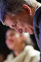 Nichi Vendola Presidente della Regione Puglia e leader di Sinistra Ecologia e Libertà durante l'incontro al Caffè Letterario di Roma con i leaders del movimento studentesco Cileno