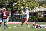 Orange, CA 05/01/10 - Marc Napp (LMU # 1), Greg Sharron (LMU # 18) and Connor Martin (Chapman # 99) in action during the LMU-Chapman MCLA SLC semi-final game in Wilson Field at Chapman University.  Chapman advanced to the final by defeating LMU 19-10.