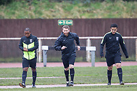 The match officials begin their pre match warm up before AFC Hornchurch vs Haringey Borough, Bostik League Division 1 North Football at Hornchurch Stadium on 10th February 2018