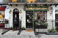 The Sherlock Holmes Museum, 221B Baker Street, opened in 1990 where Sherlock Holmes and Doctor Watson were reported to have resided as tenants of Mrs Hudson, London, UK. Picture by Manuel Cohen