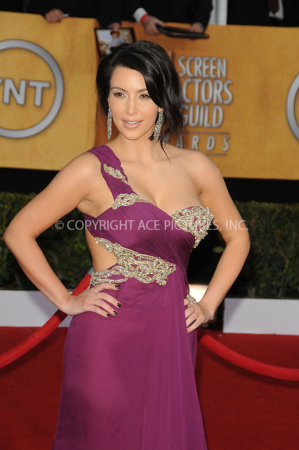 WWW.ACEPIXS.COM . . . . . ....January 30 2011, Los Angeles....Kim Kardashian arriving at the 17th Annual Screen Actors Guild Awards held at The Shrine Auditorium on January 30, 2011 in Los Angeles, CA....Please byline: PETER WEST - ACEPIXS.COM....Ace Pictures, Inc:  ..(212) 243-8787 or (646) 679 0430..e-mail: picturedesk@acepixs.com..web: http://www.acepixs.com