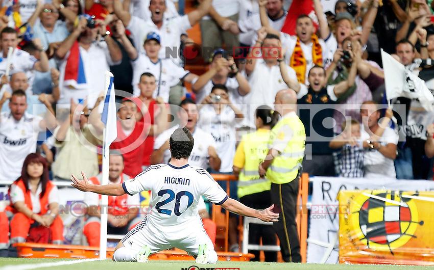 Real Madrid's Gonzalo Higuain celebrates during Super Cup match. August 29, 2012. (ALTERPHOTOS/Alvaro Hernandez). NortePhoto.com