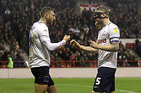 Preston North End's Louis Moult celebrates scoring his sides first goal  with Tom Clarke<br /> <br /> Photographer Mick Walker/CameraSport<br /> <br /> The EFL Sky Bet Championship - Nottingham Forest v Preston North End - Saturday 8th December 2018 - The City Ground - Nottingham<br /> <br /> World Copyright © 2018 CameraSport. All rights reserved. 43 Linden Ave. Countesthorpe. Leicester. England. LE8 5PG - Tel: +44 (0) 116 277 4147 - admin@camerasport.com - www.camerasport.com