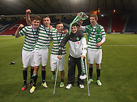 (left to right) Patrick McNally, Eoghan O'Connel, Callum McGregor, Marcus Fraser and Stuart Findlay after winning the Dunfermline Athletic v Celtic Scottish Football Association Youth Cup Final match played at Hampden Park, Glasgow on 1.5.13. ..