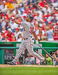9 June 2013: Minnesota Twins outfielder Aaron Hicks in action against the Washington Nationals at Nationals Park in Washington, DC. The Nationals shut out the Twins 7-0 in the first game of their day/night double-header. Mandatory Credit: Ed Wolfstein Photo *** RAW (NEF) Image File Available ***
