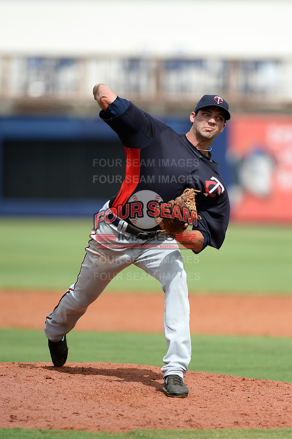 Minnesota Twins pitcher Randy LeBlanc (73) during an Instructional League game against the Tampa Bay Rays on September 16, 2014 at Charlotte Sports Park in Port Charlotte, Florida.  (Mike Janes/Four Seam Images)