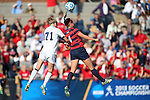 16 November 2013: Liberty's Geena Swentik (4) and North Carolina's Hanna Gardner (71) challenge for a header. The University of North Carolina Tar Heels hosted the Liberty University Flames at Fetzer Field in Chapel Hill, NC in a 2013 NCAA Division I Women's Soccer Tournament First Round match. North Carolina won the game 4-0.