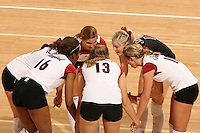 3 December 2005: Bryn Kehoe, Courtney Schultz, Kristin Richards, Lizzy Suiter and Foluke Akinradewo during Stanford's 3-1 loss to Santa Clara University at Maples Pavilion in Stanford, CA.