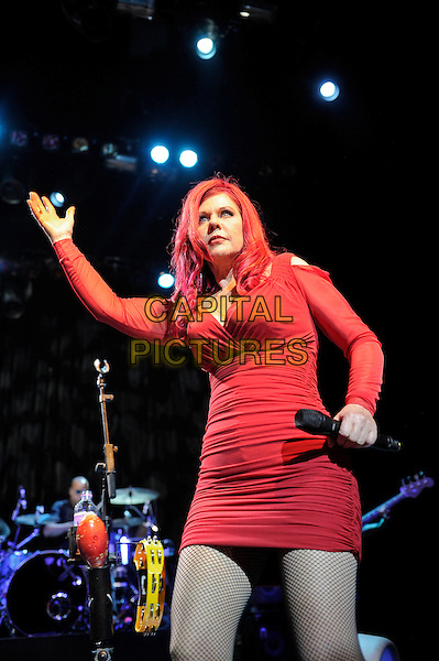 Katie Pierson<br /> The B 52's performing in concert, Indigo2, Greenwich, London, England. 16th August 2013<br /> on stage in concert live gig performance performing music half length red dress hand arm dancing<br /> CAP/MAR<br /> &copy; Martin Harris/Capital Pictures