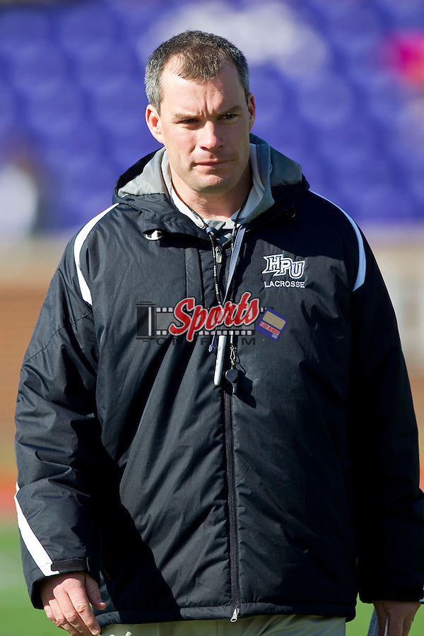 High Point Panthers head coach Jon Torpey prior to the match against the Delaware Blue Hens at Vert Track, Soccer & Lacrosse Stadium on February 2, 2013 in High Point, North Carolina.  The Blue Hens defeated the Panthers 12-10.   (Brian Westerholt/Sports On Film)